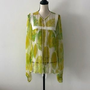 Emanuel Ungaro Yellow Green Silk Floral Tunic L